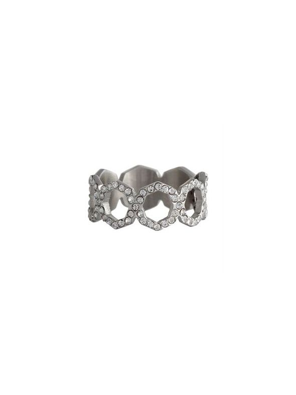 Silver with Crystals Octagonal Ring - Size 6