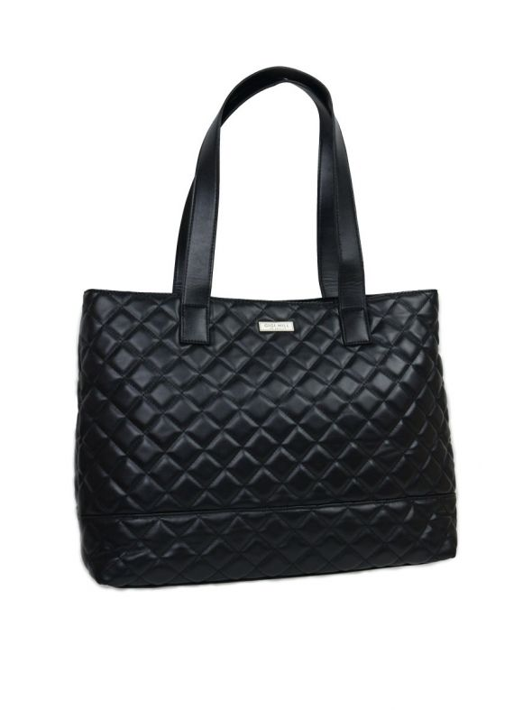 Anne Quilted Black Large Tote