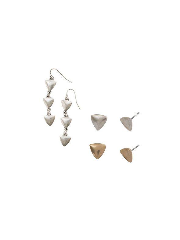 Gold Arrow Earring Set